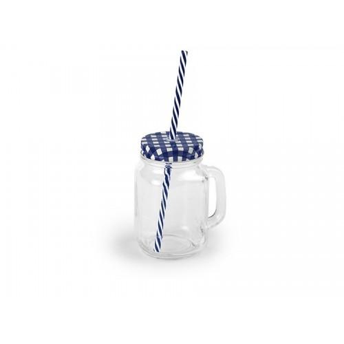 Steklen kozarec s slamico