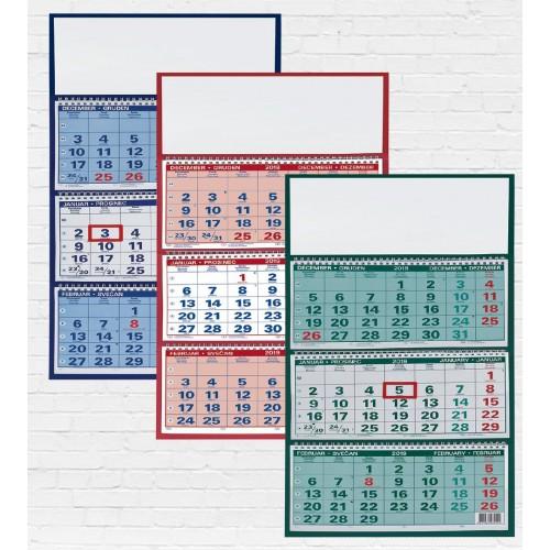 Stenski tridelni špiralni koledar