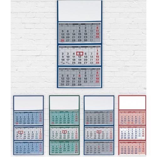 Stenski tridelni koledar lepljen